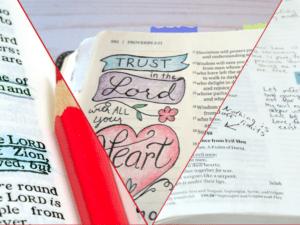 Bible journaling art vs notes