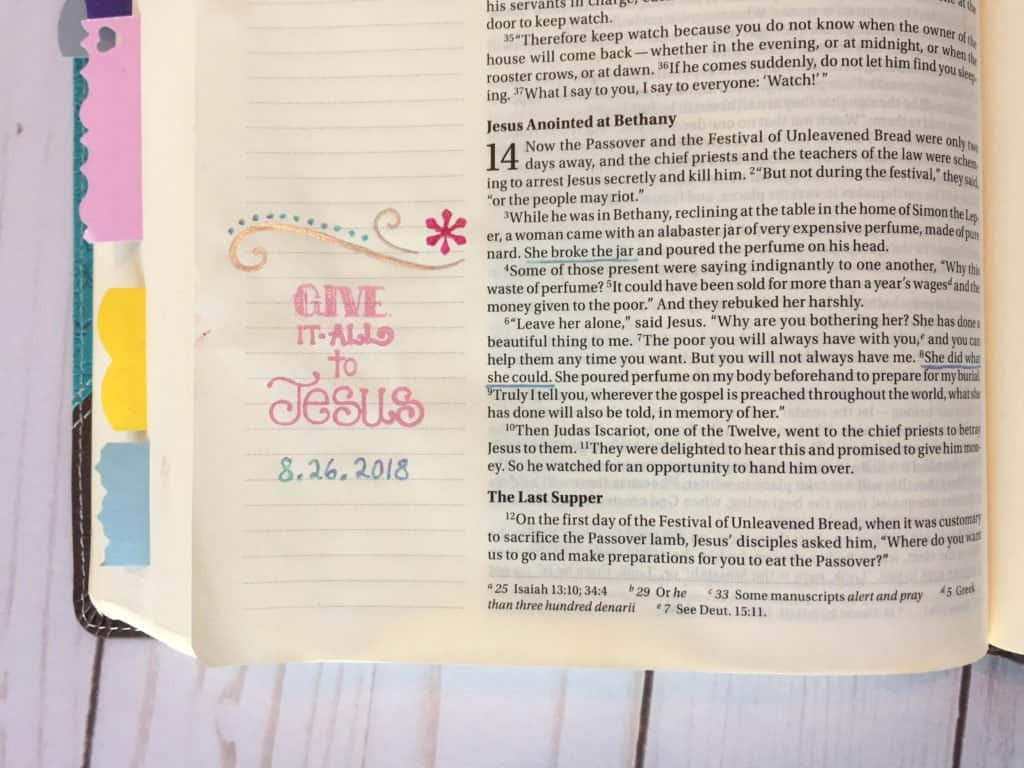 Bible journaling ideas - give it all to Jesus