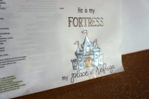God is my fortress - metallic close-up