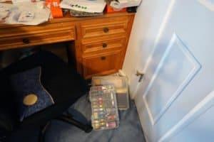 craft desk: before (stuff on floor)