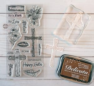 Christian Easter card - stamp set and cross
