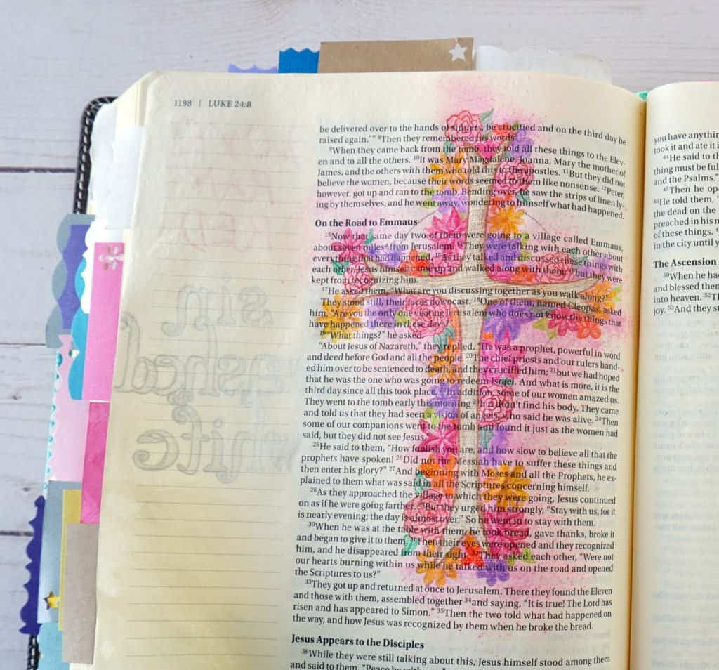 Bible journaling floral cross