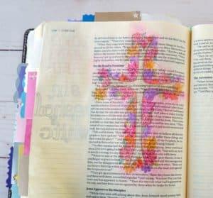 Bible journaling floral cross