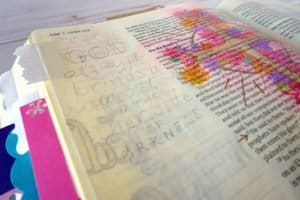 Bible journaling with colored pencils