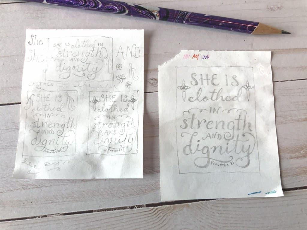 Proverbs 31:25 design sketch