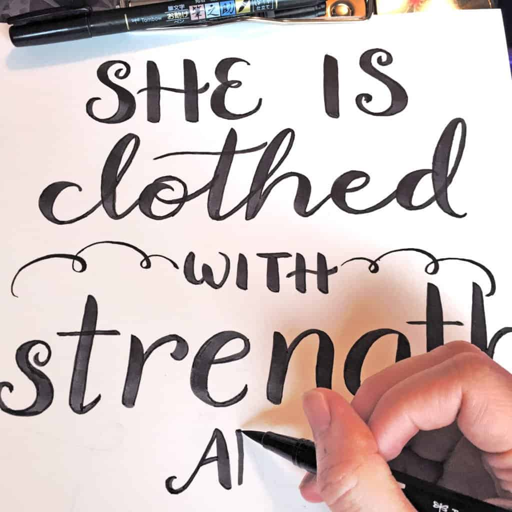 Proverbs 31:25 lettering