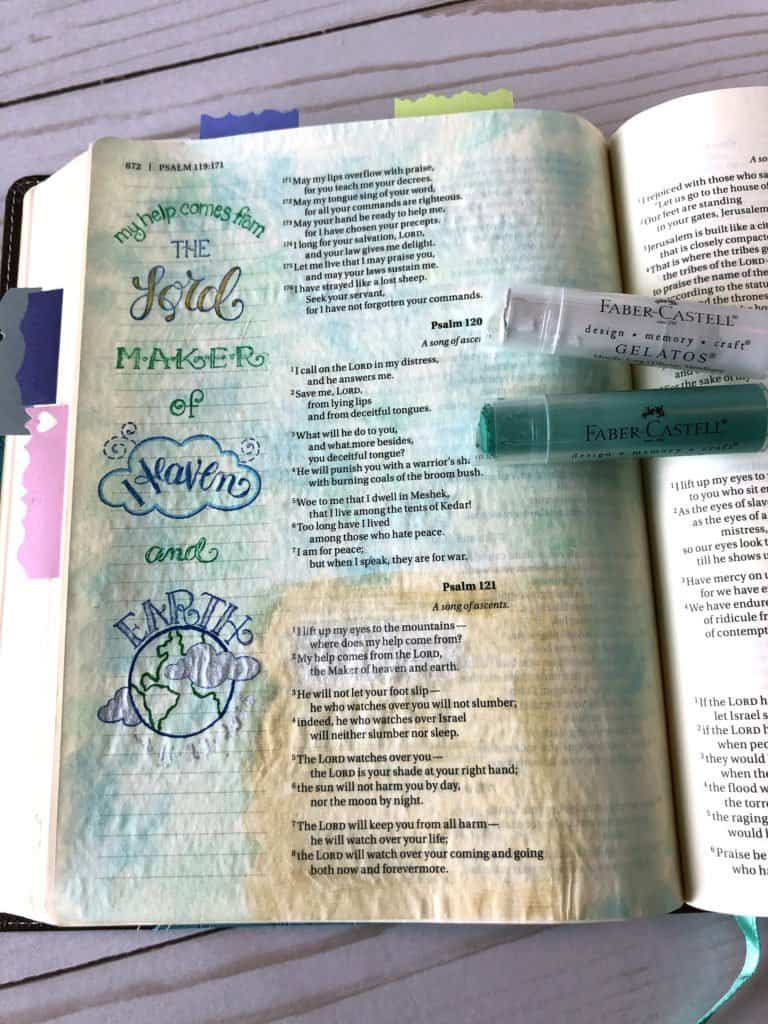 how do you use gelatos in Bible journaling