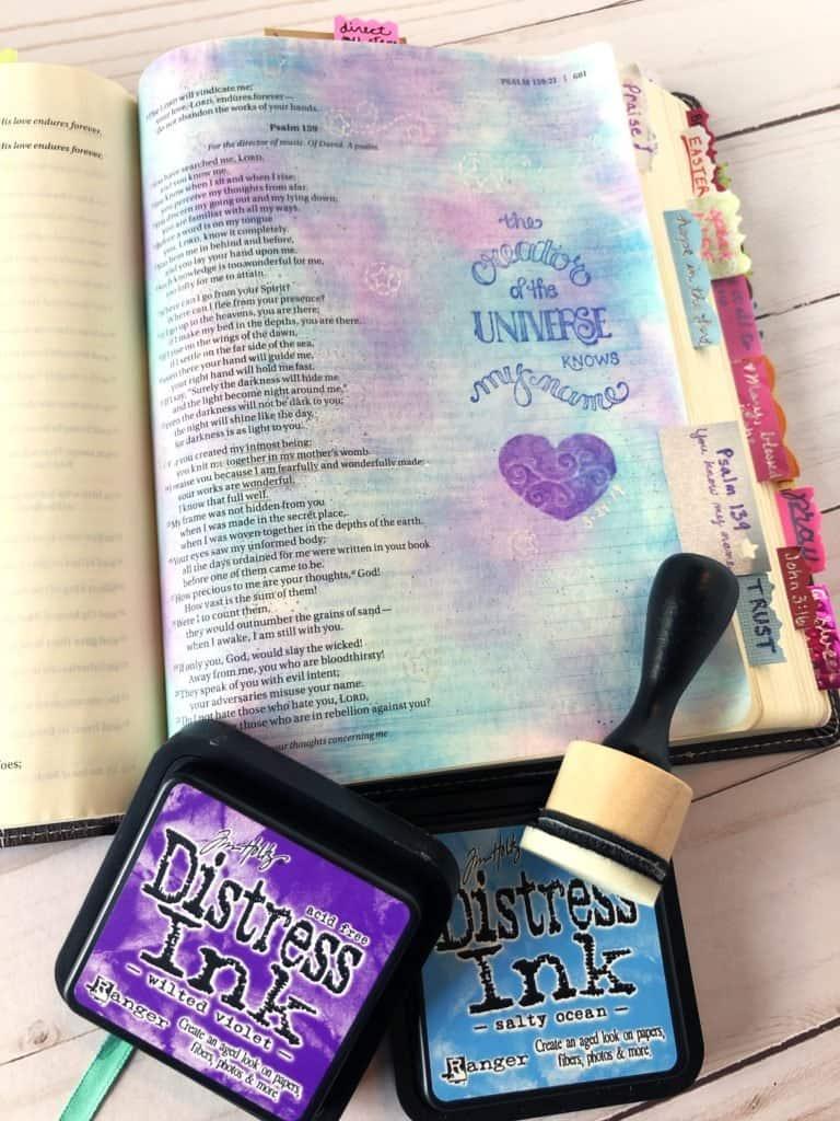 Bible journaling techniques - Distress ink