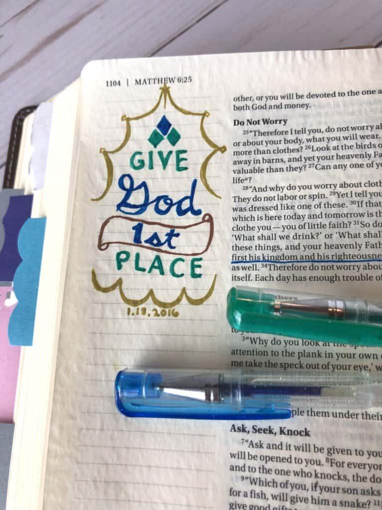 glitter pen Bible journal