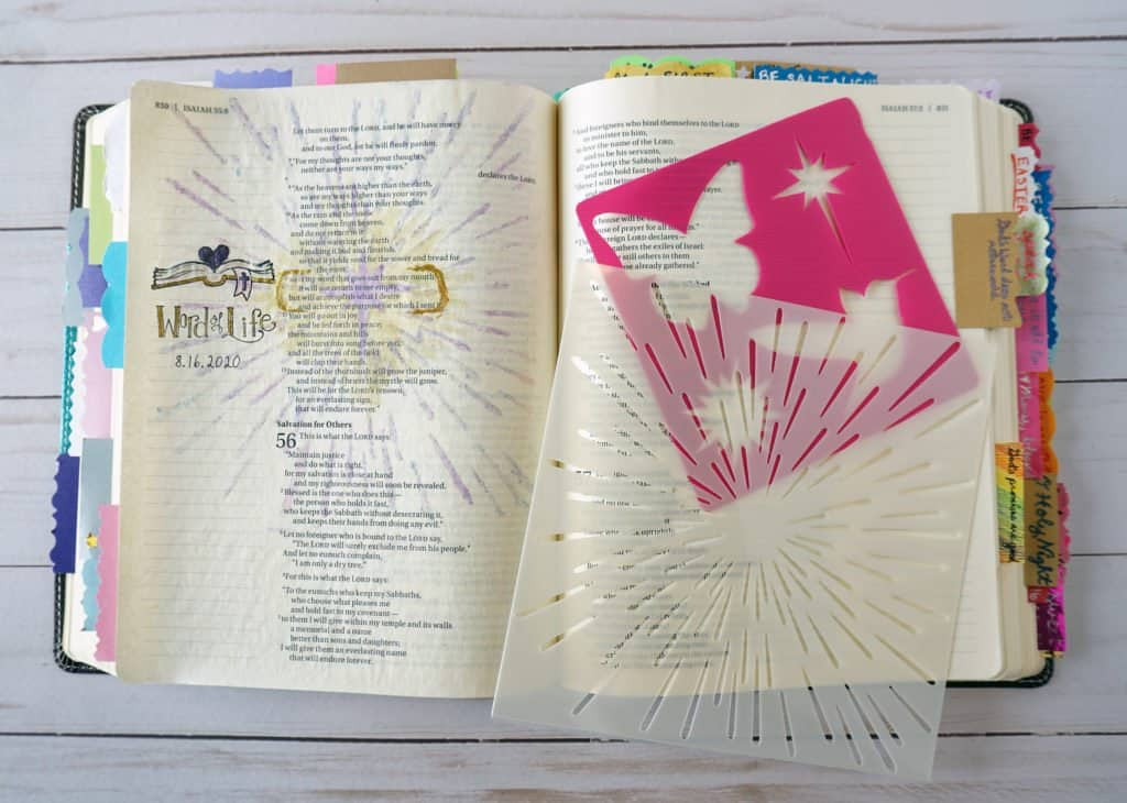 Bible journaling with colored pencils and stencils