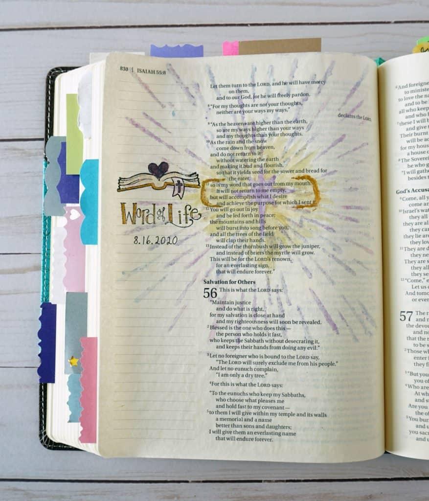 Isaiah 55:11 Bible journaling page