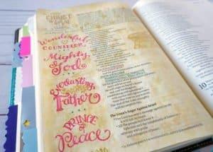 Christmas Bible journaling - Isaiah 9:6