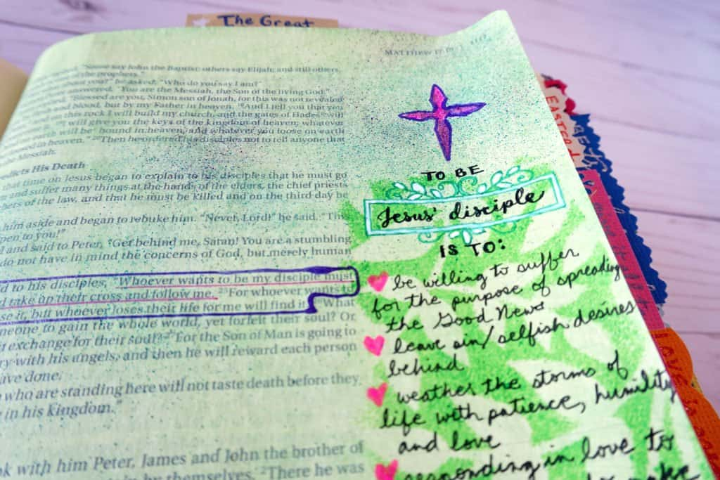 Bible journaling with paint and ink spritzer