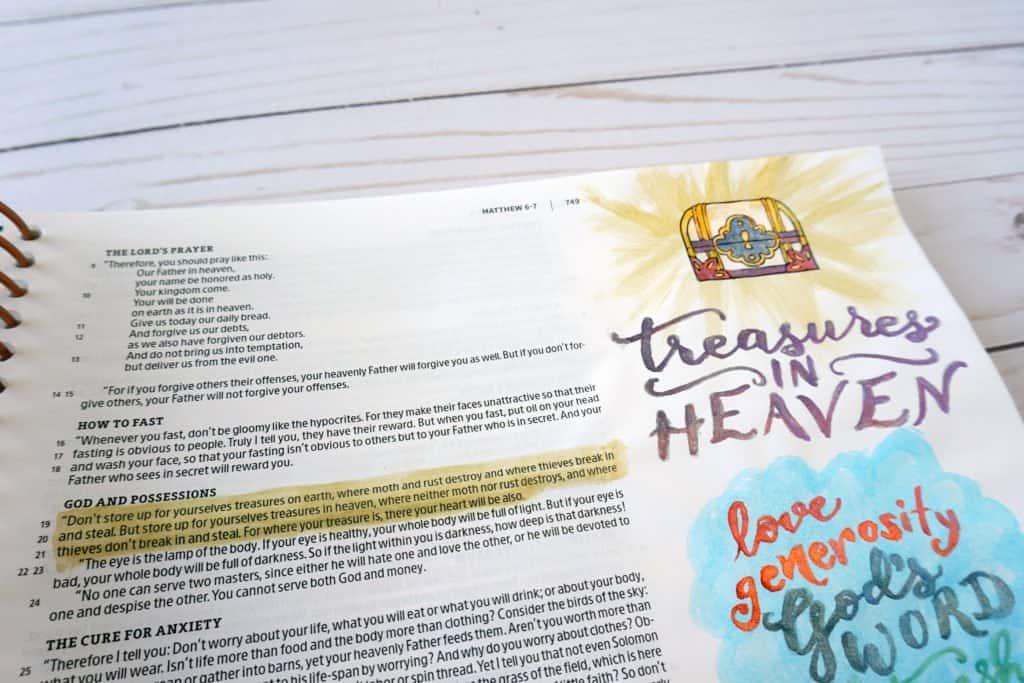 treasures in heaven Matthew 6:19-21 Illustrating Bible