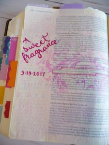 Bible journal with ink spray