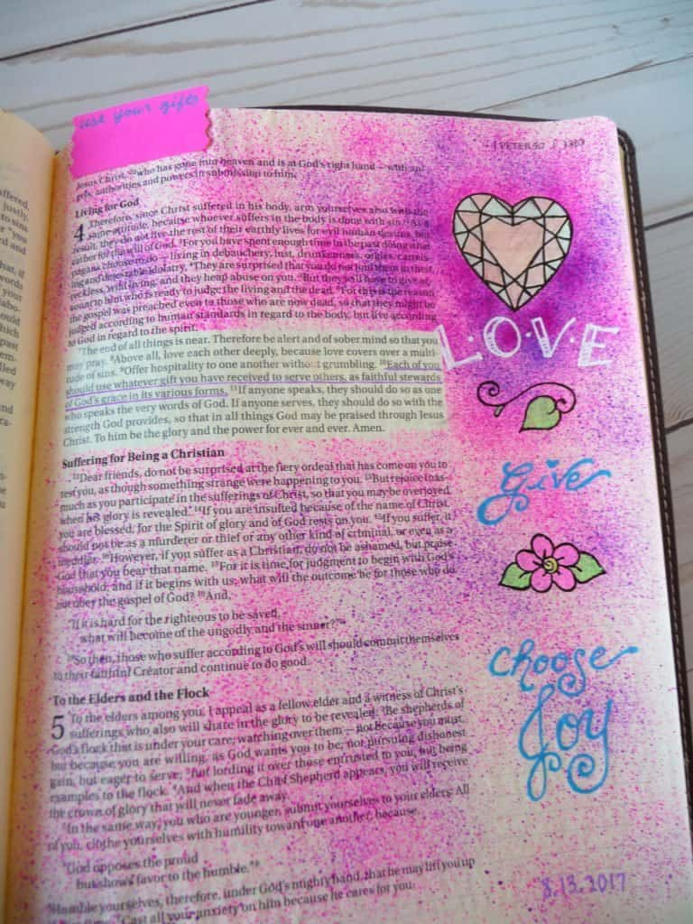 Bible journaling with ink spritzer