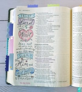 Bible journaling with colored pencils - Proverbs 3:5-6