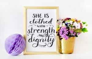 Proverbs 31:25 art on Etsy