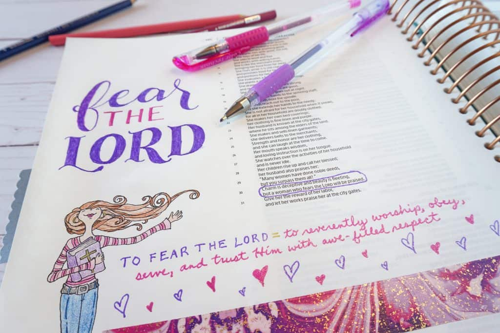 Proverbs 31 Bible journaling page - fear the Lord