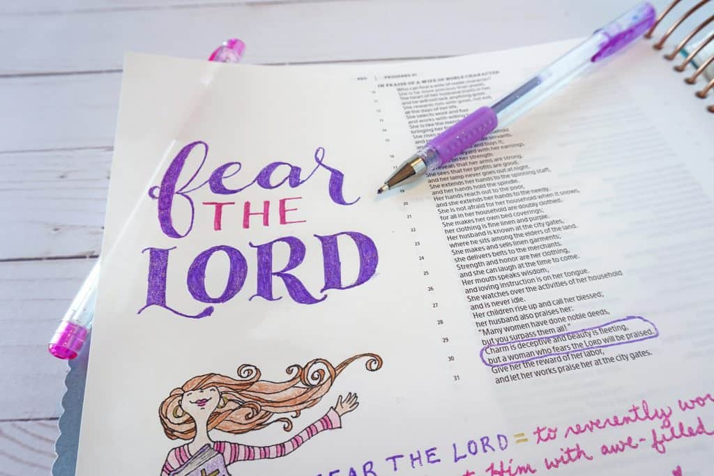 Proverbs 31 Bible journaling - fear the Lord