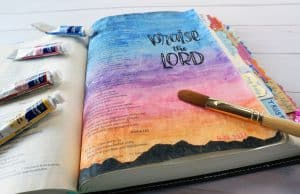 Bible journaling watercolor page on Psalm 113
