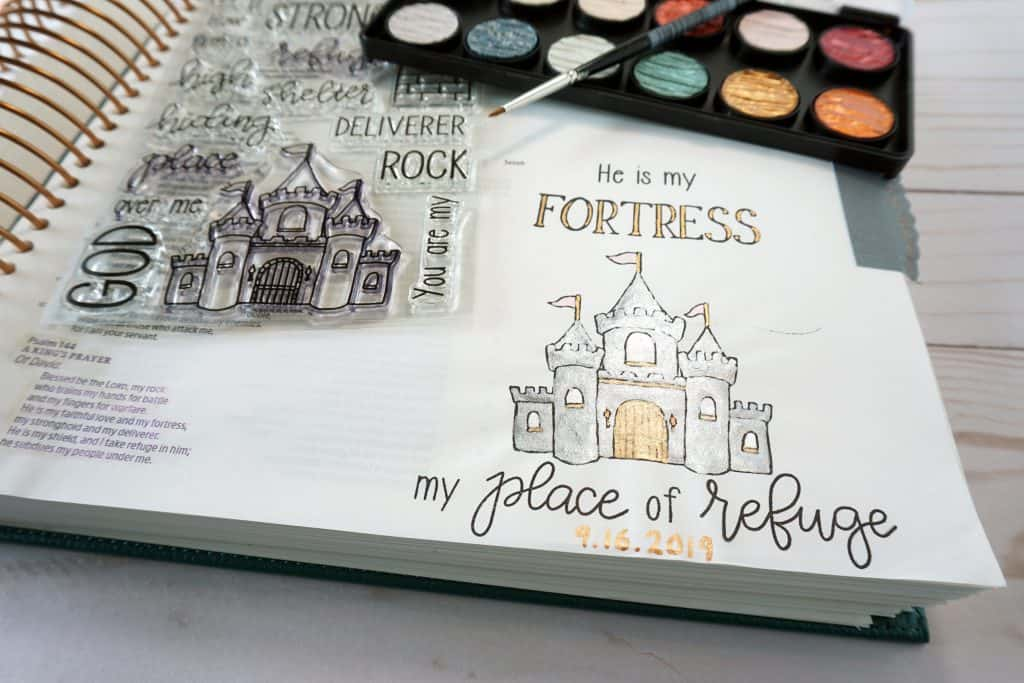 Psalm 144 He is my fortress - Bible journaling stamps