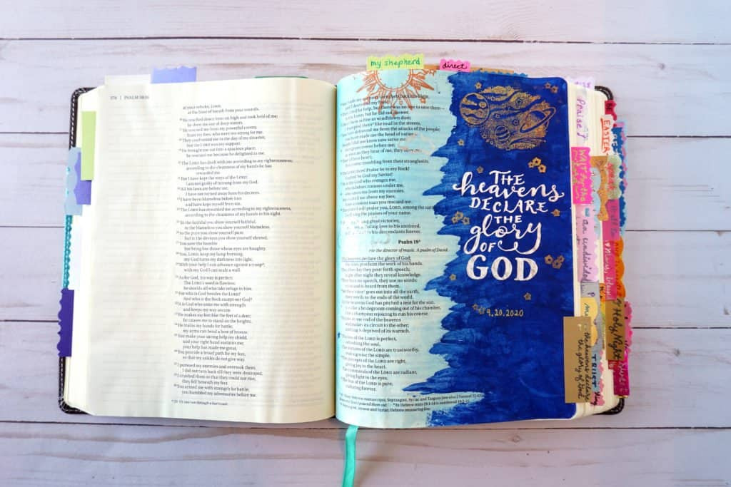 using gel pens for Bible journaling - Psalm 19