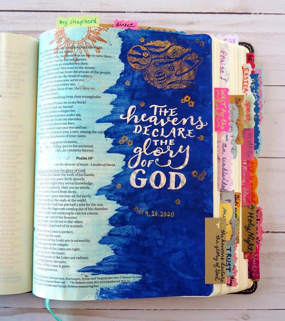Bible journaling example - Psalm 19