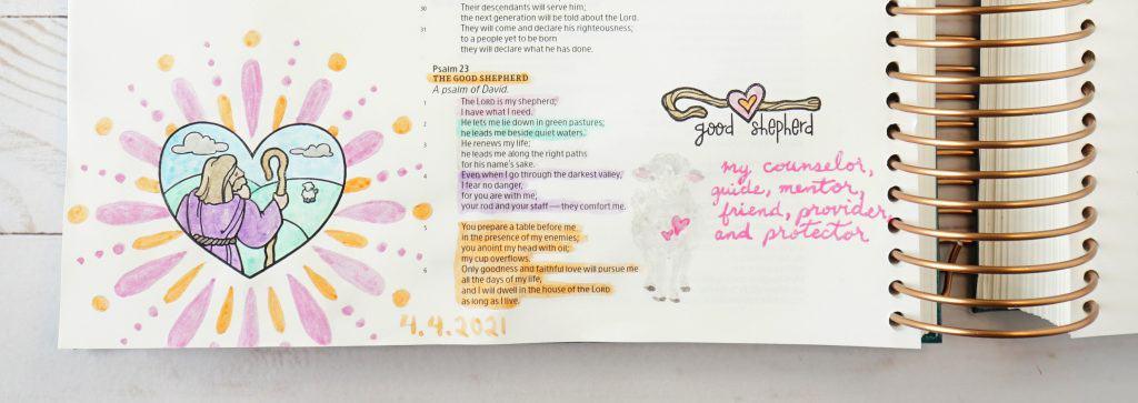 Psalm 23 Bible journaling page