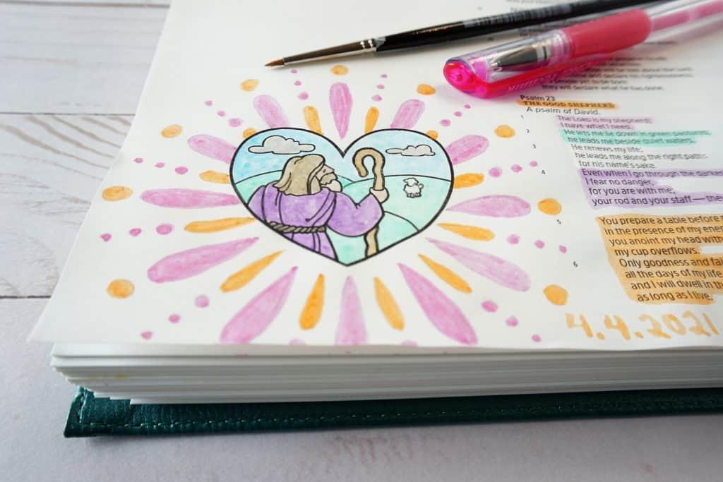 Bible art journaling ideas - Psalm 23