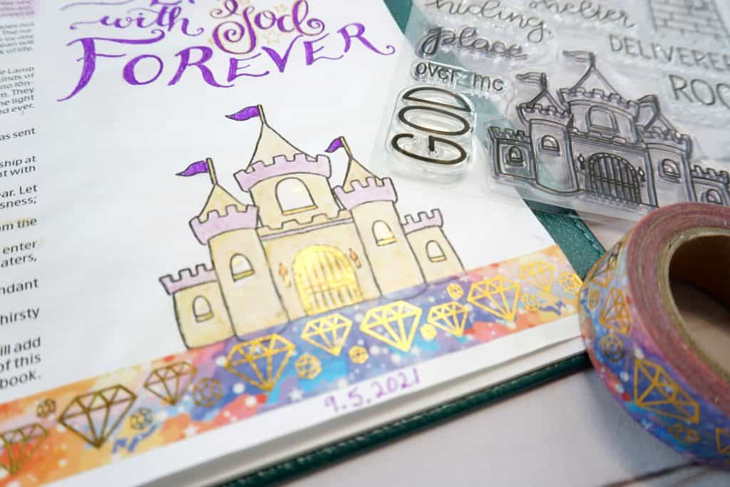 Bible journaling Revelation page close up - stamps and washi tape