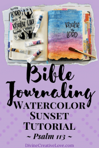 Bible journaling watercolor sunset tutorial