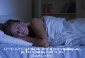 woman sleeping peacefully - Psalm 143:8