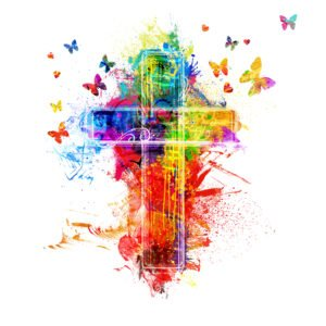 cross with butterflies
