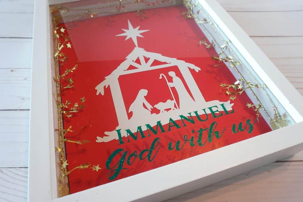 nativity shadow box with vinyl