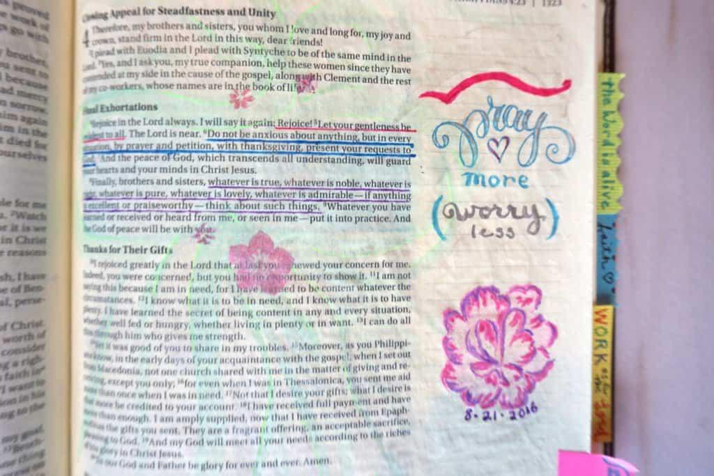 Bible journaling - pray more worry less