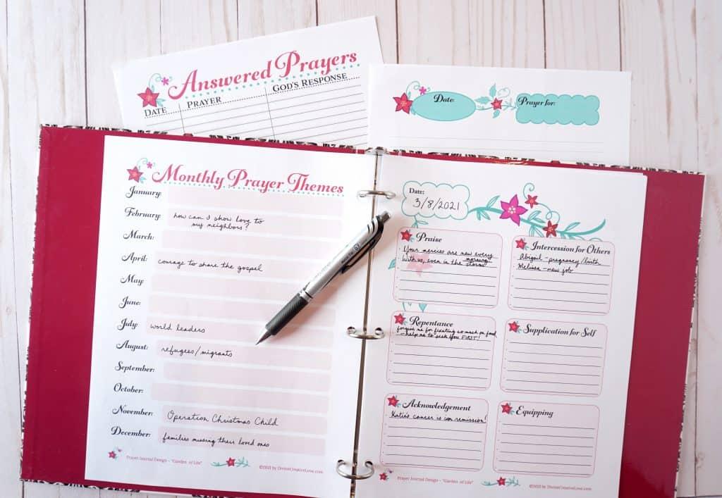 prayer journal printables - garden of life design