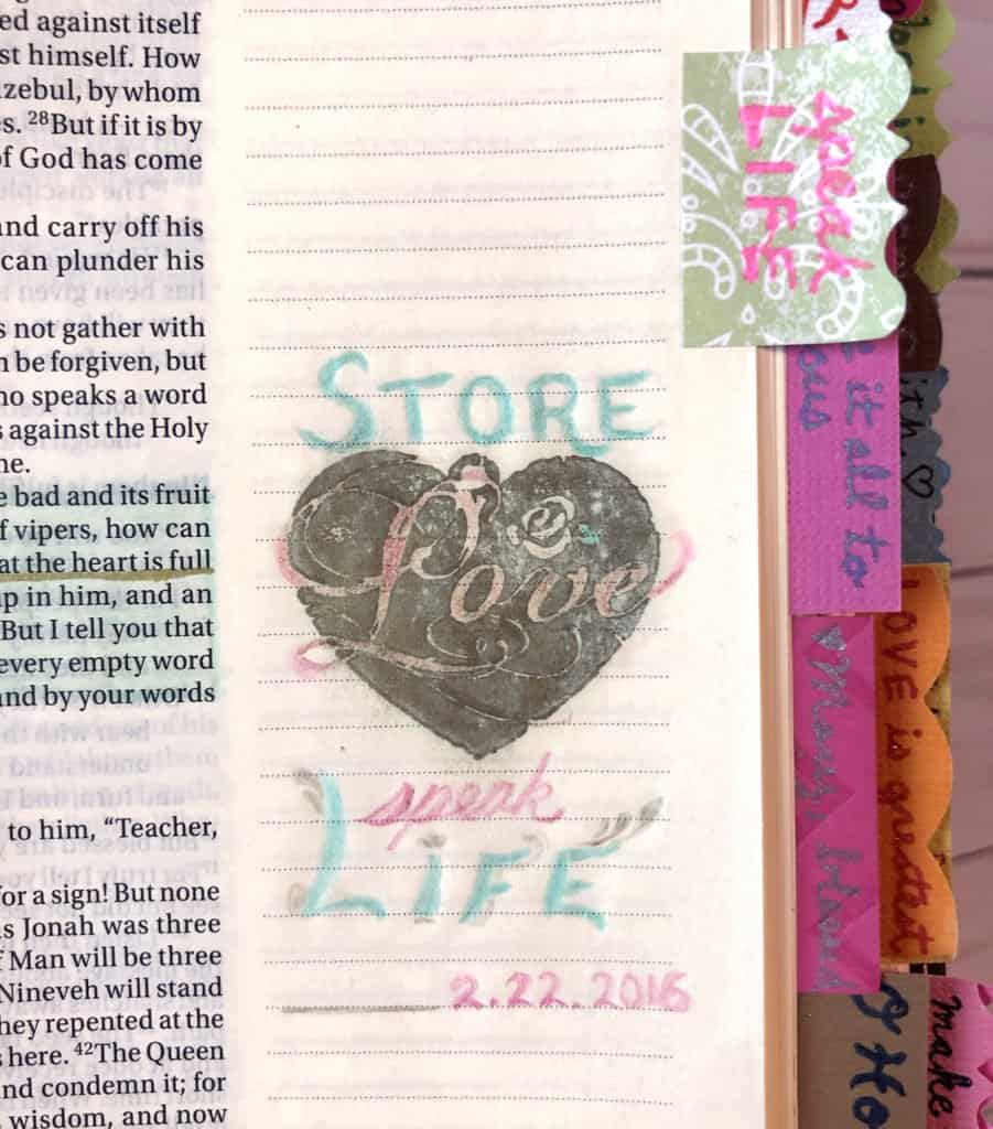 what to write in a Bible journal - store love, speak life