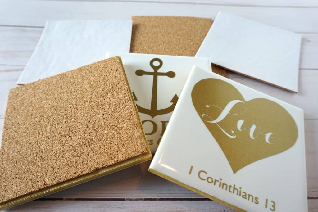 ceramic tile coasters with cork backing